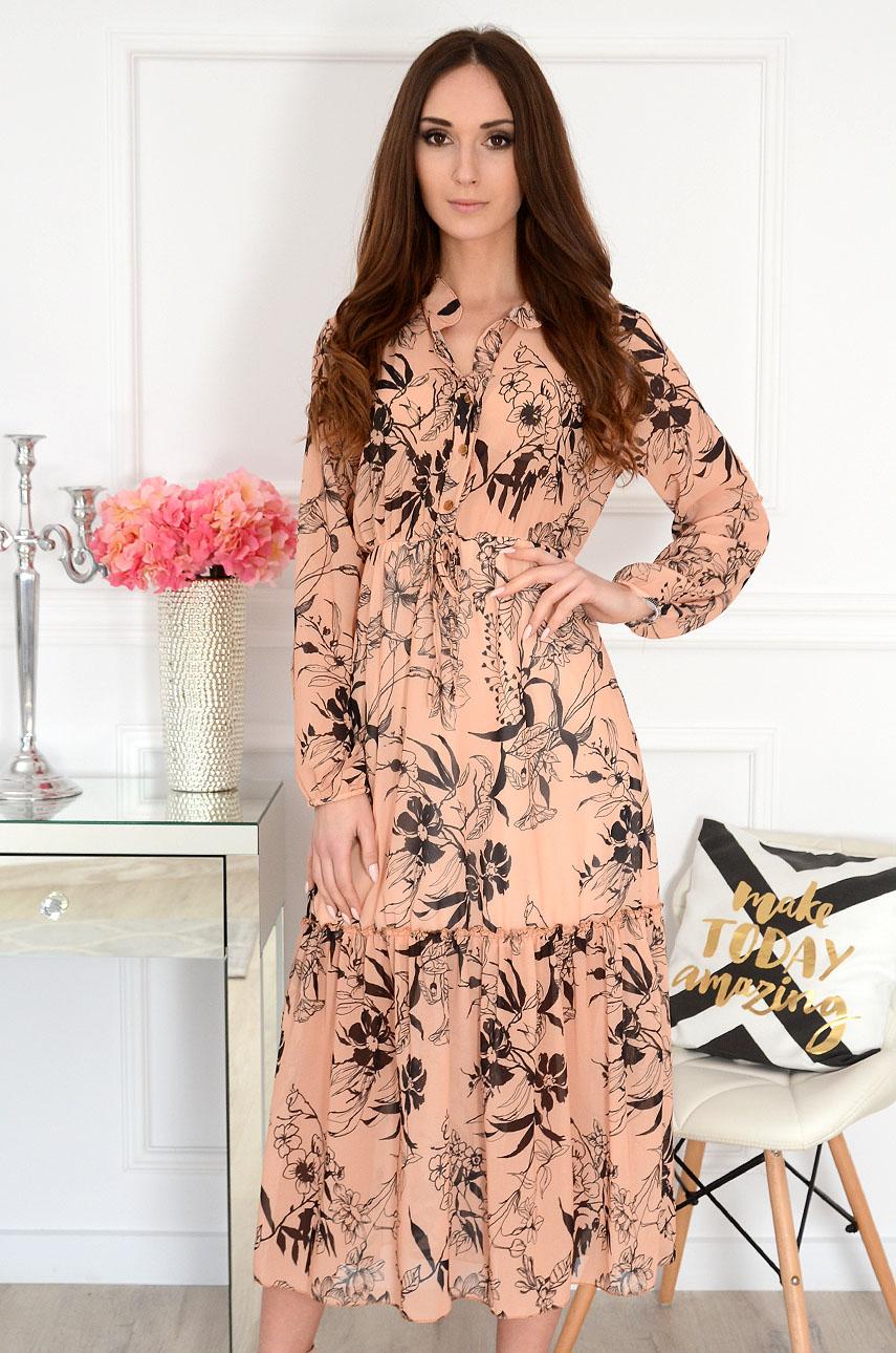 Sukienka midi szyfonowa w kwiaty kamel Peggy Rozmiar: UNI