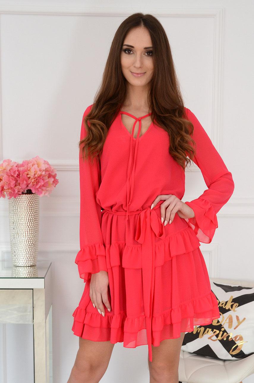 Sukienka szyfonowa z falbanami malinowa Volante Rozmiar: S