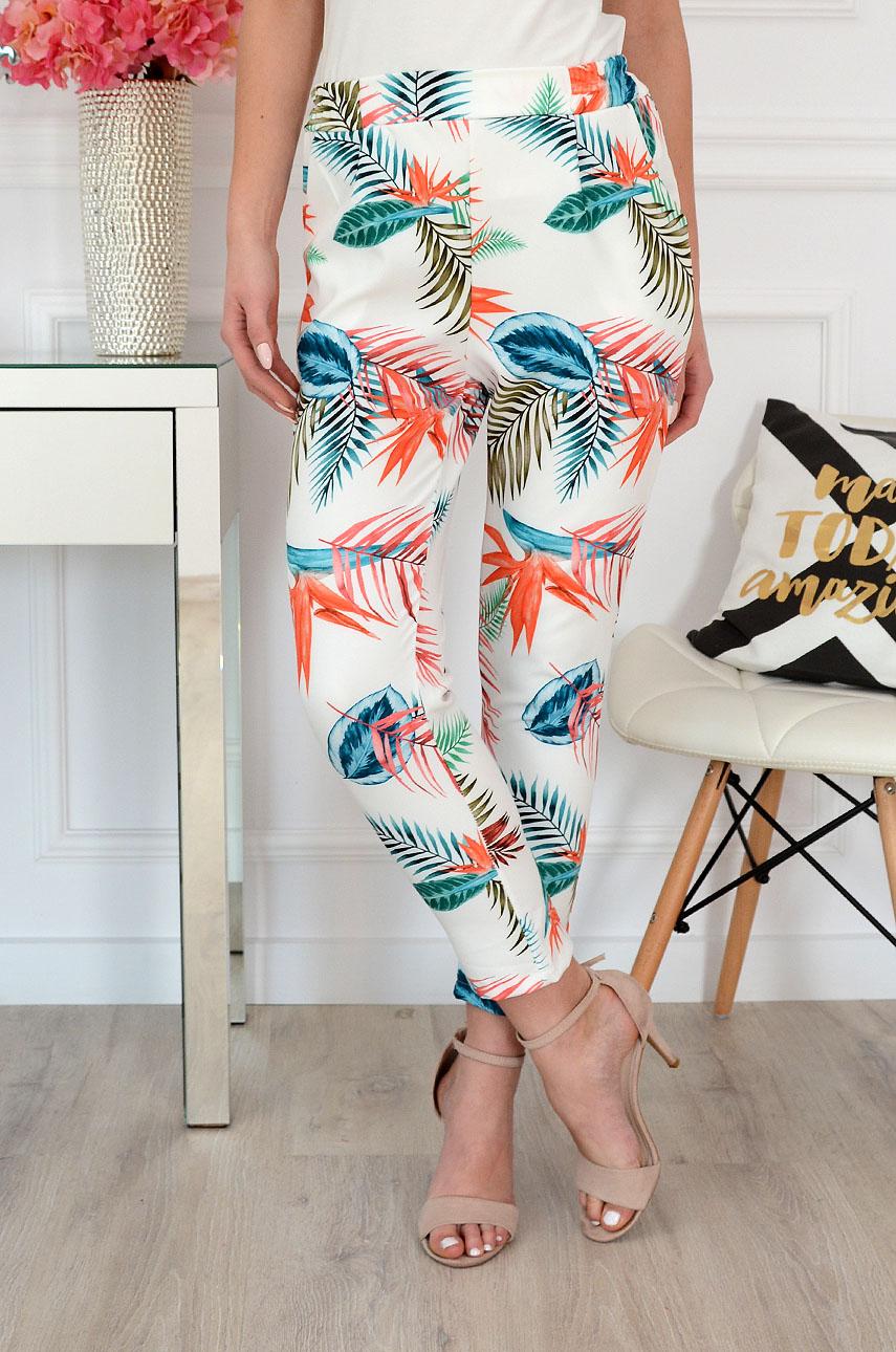 Spodnie w tropikalny wzór kremowe Strelicja Rozmiar: S/M
