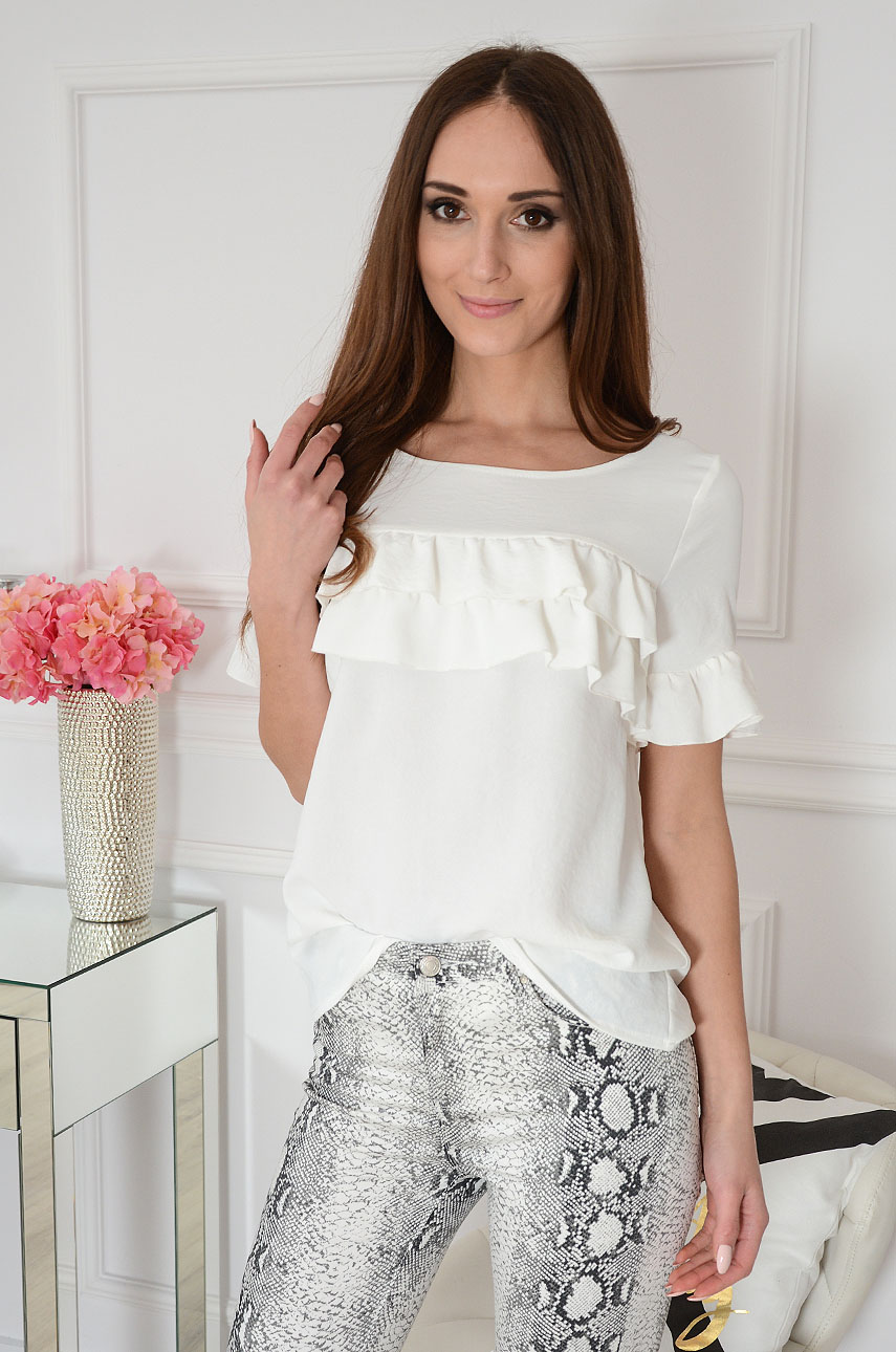 Elegancka bluzka z falbanami kremowa Delia Rozmiar: XL