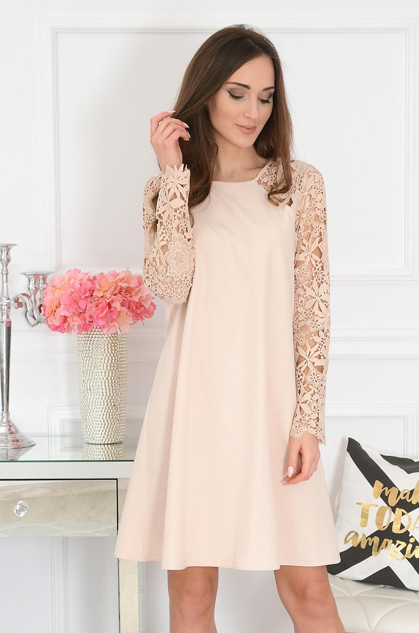 Sukienka z gipiurowym rękawem beżowa Mania Rozmiar: M