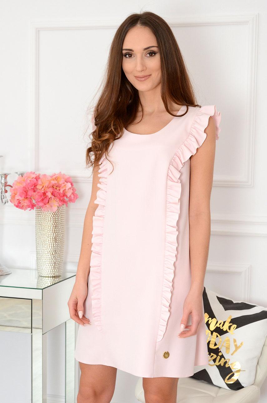 eb48723b9a Elegancka sukienka trapezowa pudrowy róż Rita