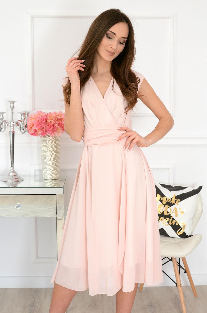 Sukienka szyfonowa midi dekolt V pudrowy róż Liva Rozmiar: 3XL