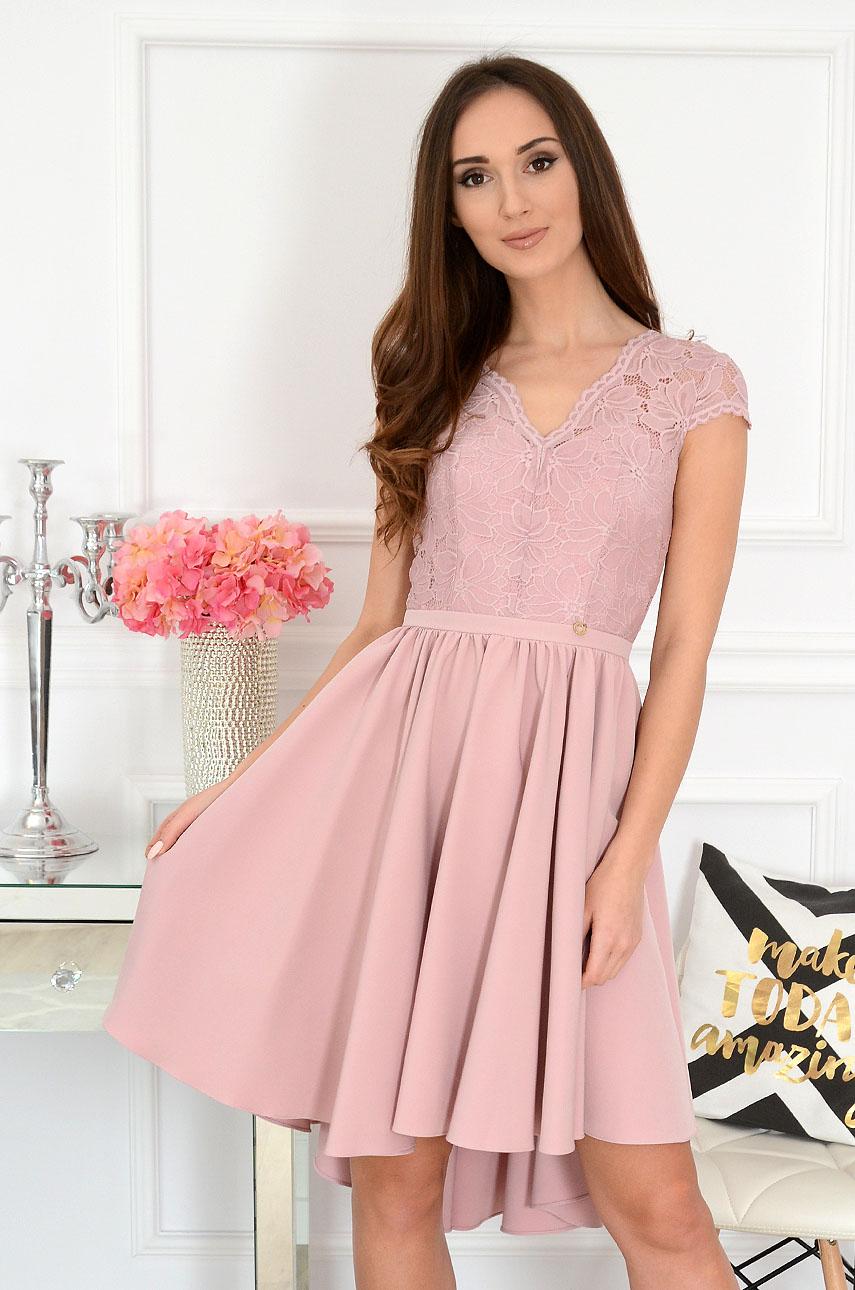 Sukienka asymetryczna z koronkową górą brudny róż Samira Rozmiar: XS