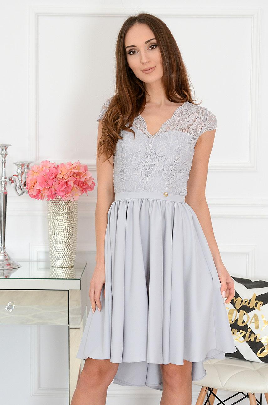 Sukienka asymetryczna z koronkową górą szara Samira Rozmiar: S