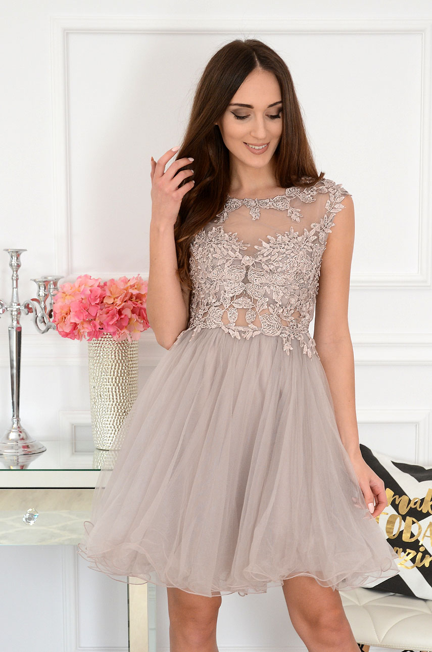 Sukienka z koronki i tiulu beżowoszara Patrizia Rozmiar: S/M