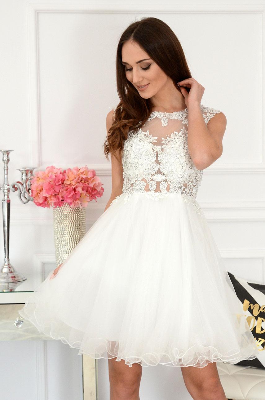Sukienka z koronki i tiulu biała Patrizia Rozmiar: M/L