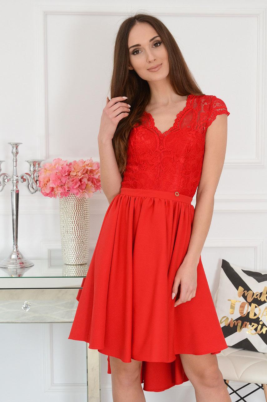 Sukienka asymetryczna z koronkową górą czerwona Samira Rozmiar: XS