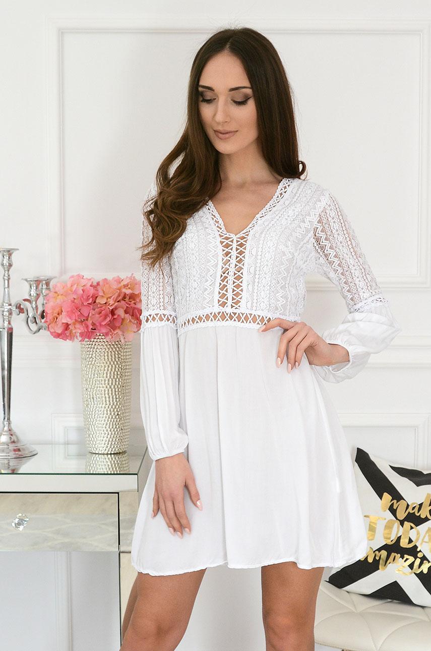 c92c3bfdf25834 Sukienka boho z koronkową górą biała Sklep internetowy cocomo...