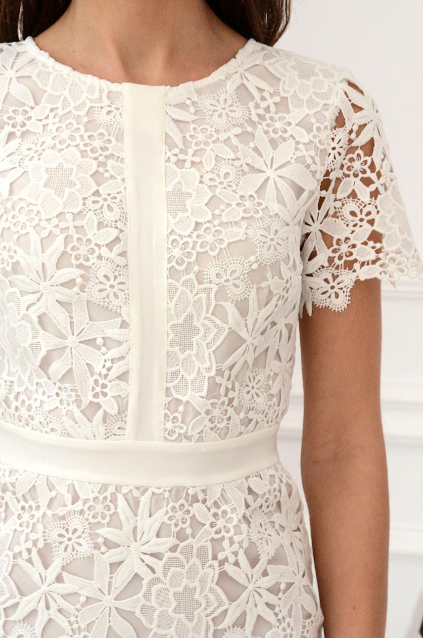 6a555b63c3 Elegancka sukienka koronkowa biała Indigo New