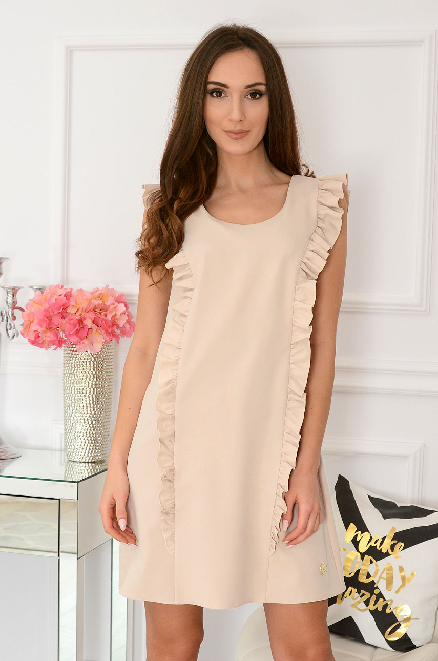 a5356b2649 Elegancka sukienka trapezowa beżowa Rita