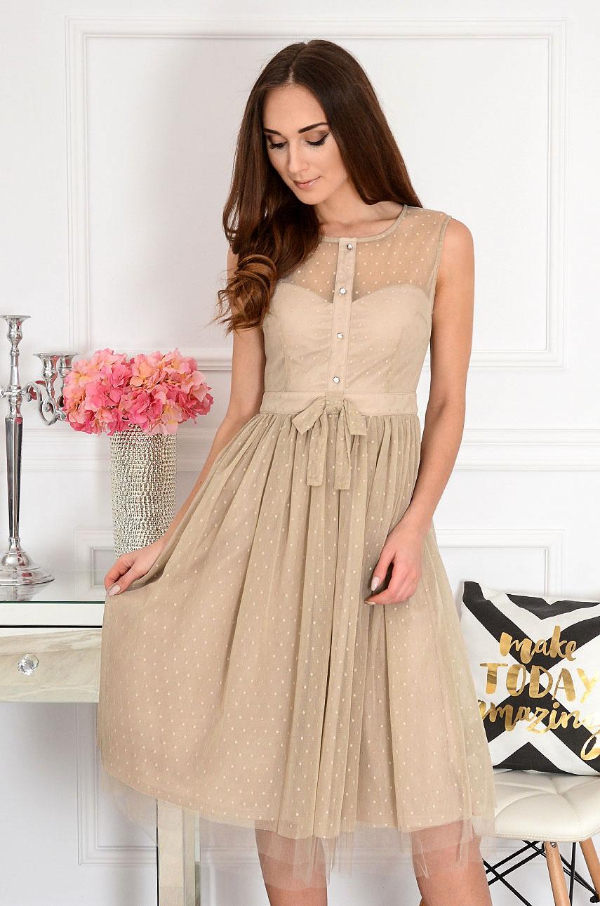 Sukienka midi tiulowa w kropki beż Rosita Rozmiar: S