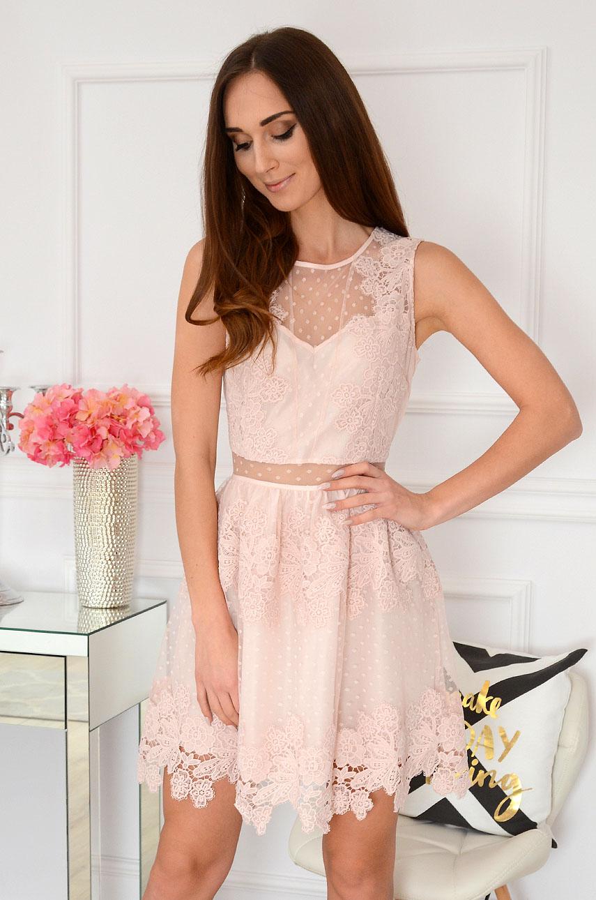 1c8ddf8ff8cb3c Sukienka z koronki i tiulu pudrowy róż, Sklep internetowy coc...