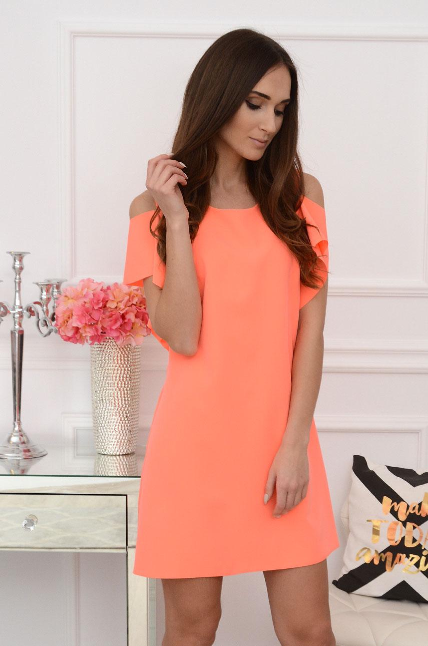 Sukienka gołe ramiona orange neon Adria Rozmiar: L