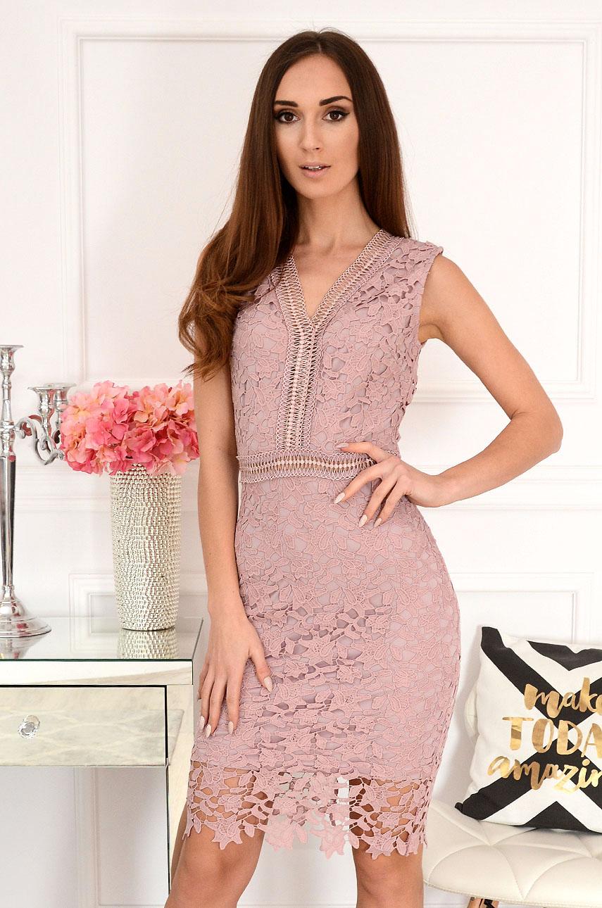 Sukienka z gipiury wrzosowa Alice Rozmiar: M