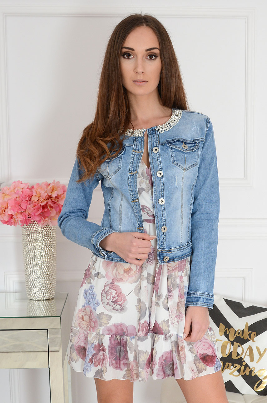 Krótka kurtka jeansowa z perłami i przetarciami Marys Rozmiar: XL