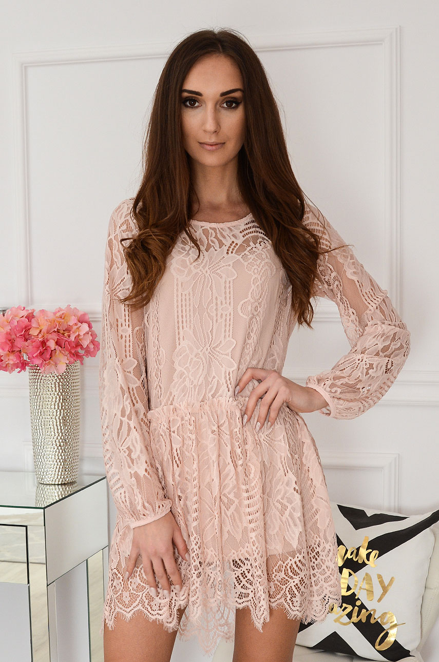 Sukienka oversize koronkowa brudny róż Annie New Rozmiar: M