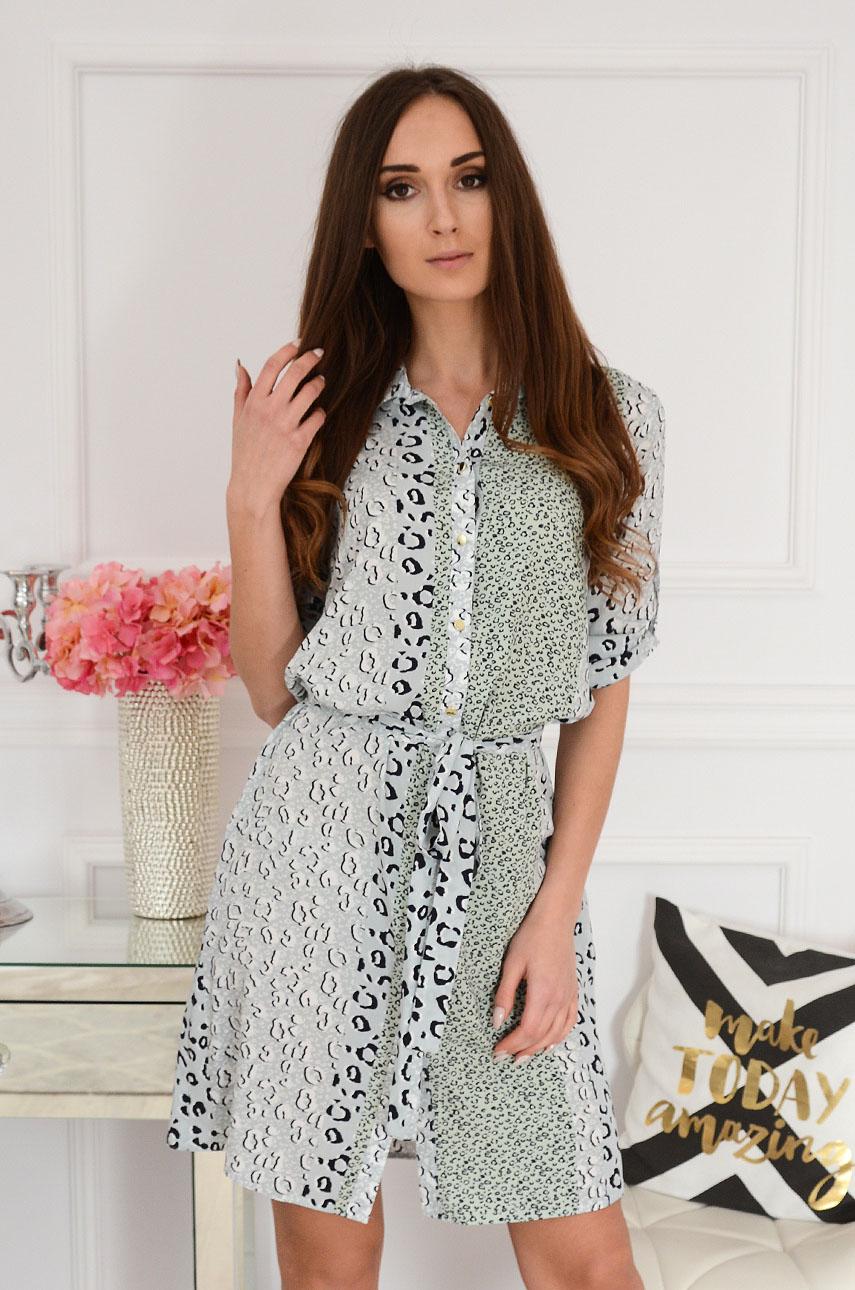 Sukienka koszulowa z wiązaniem w panterkę Irlaja Rozmiar: S