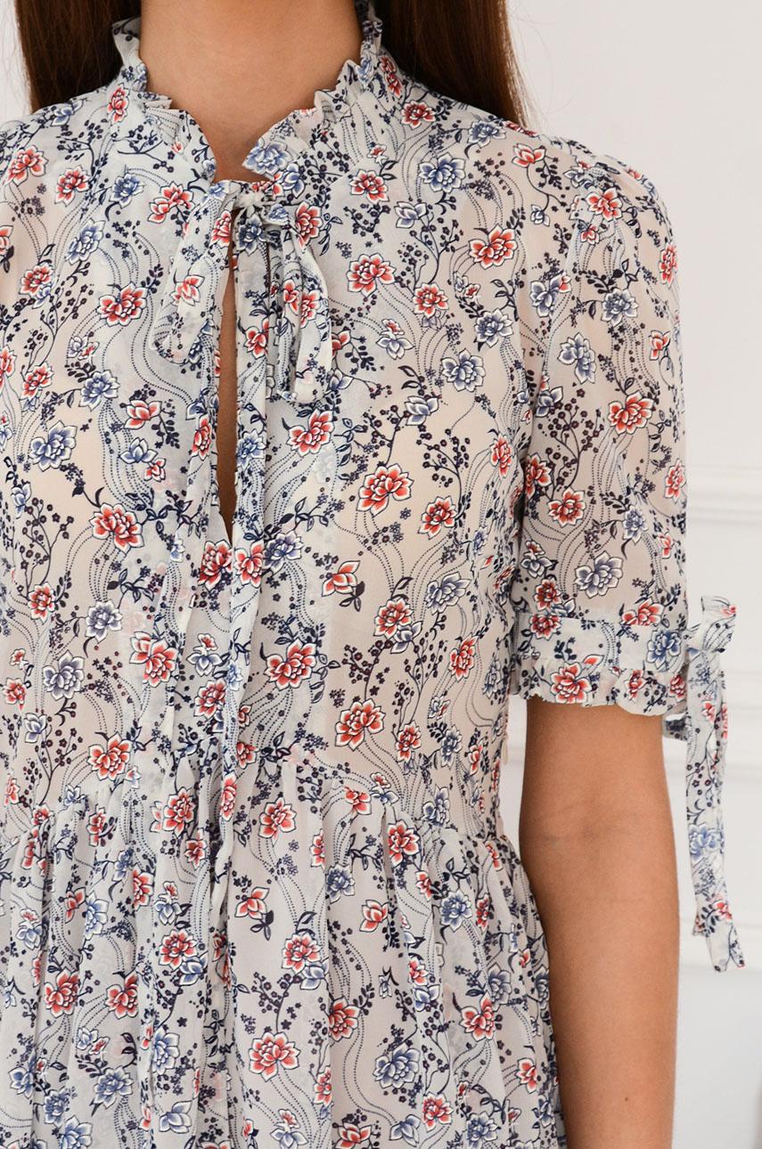 5b50950ca1 Sukienka szyfonowa z ozdobną stójką w kwiaty szara Sklep inte...