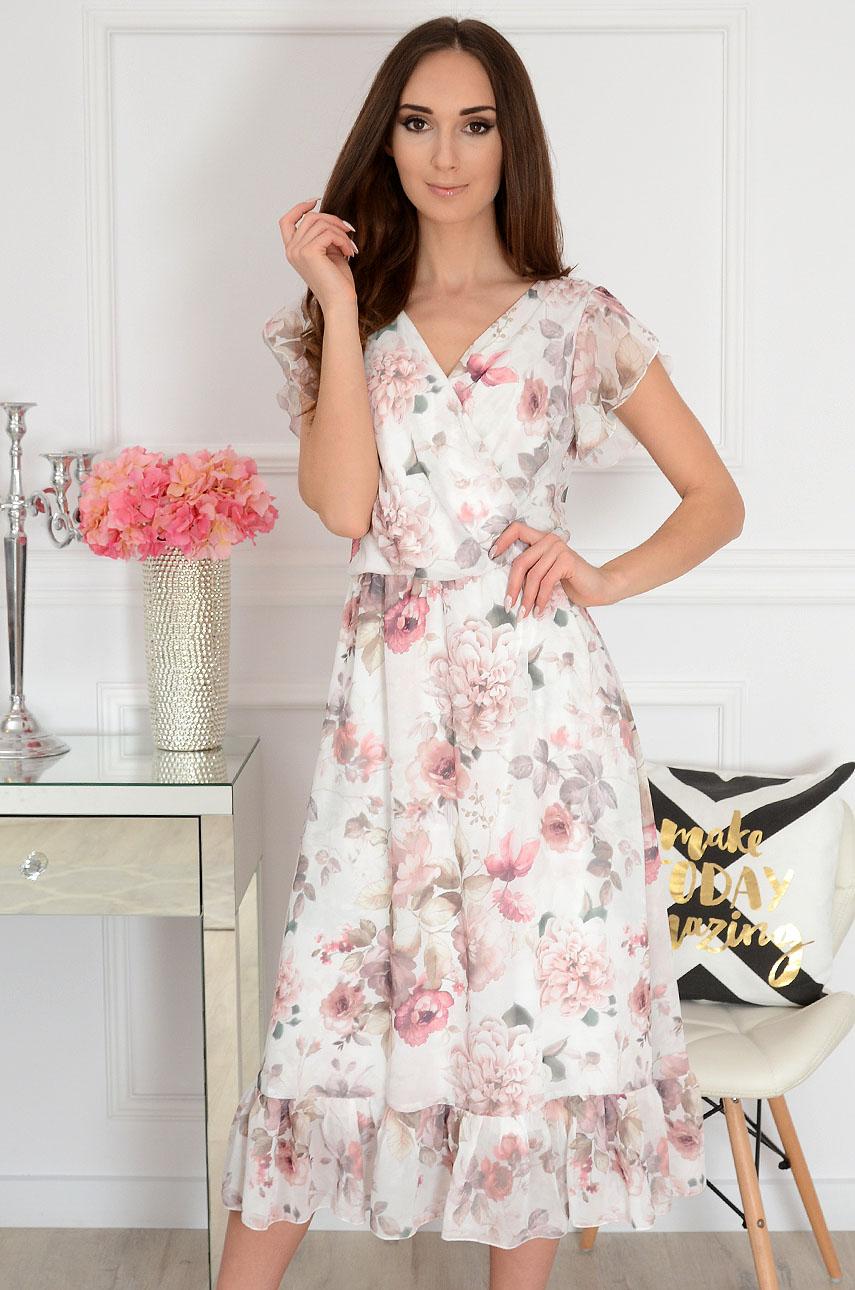 Sukienka midi szyfonowa w kwiat kopertowy dekolt kremowa Aniela
