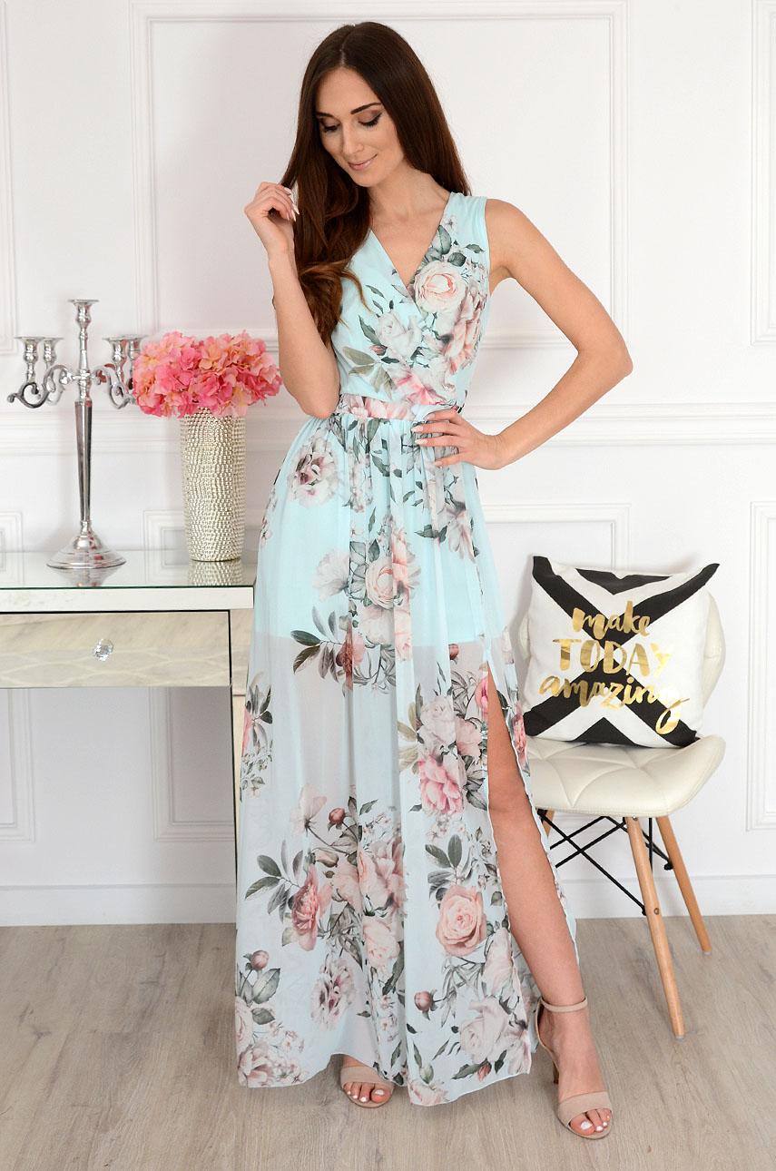 Sukienka maxi szyfonowa w kwiaty miętowa Lukrecja Rozmiar: XS