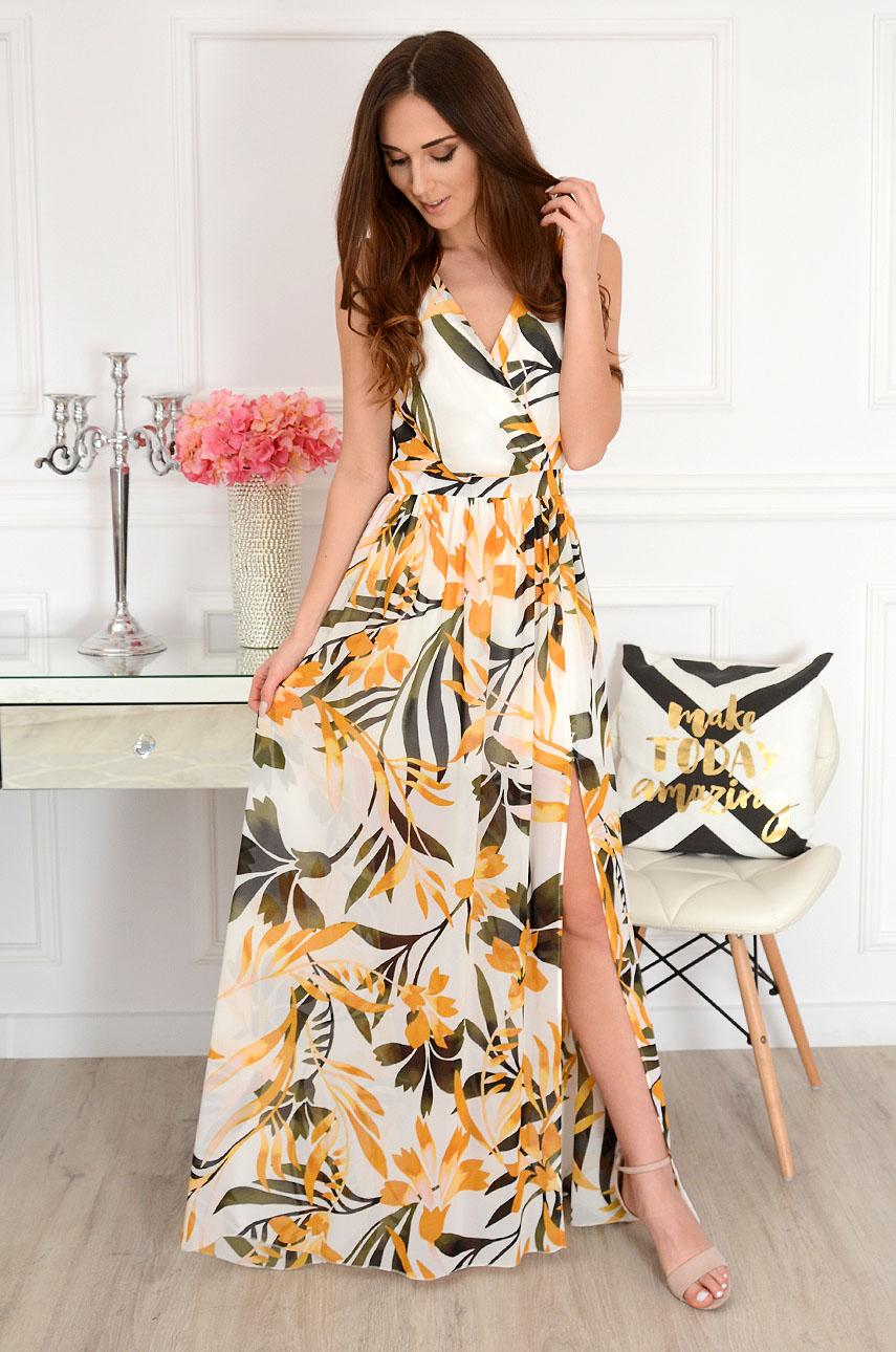Sukienka maxi szyfonowa w musztardowe kwiaty Lukrecja Rozmiar: XS