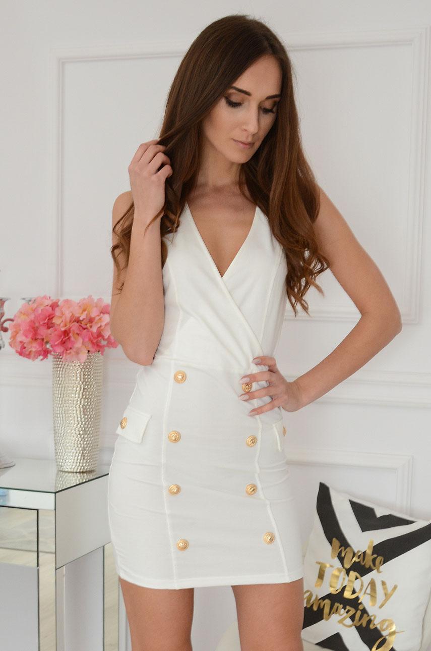 Sukienka dwurzędowa z ozdobnymi guzikami kremowa Seneca Rozmiar: S/M