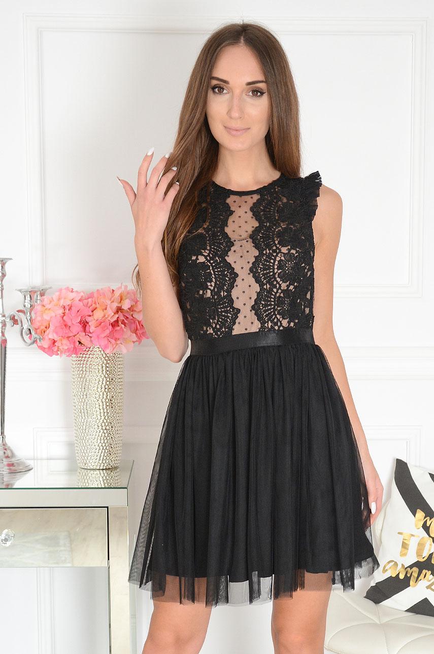 Sukienka z koronki i tiulu czarno-beżowa Nixie 2 Rozmiar: S