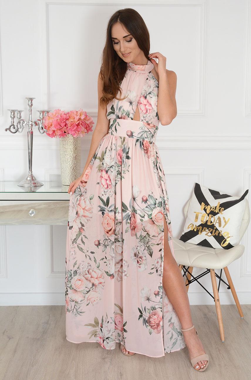 Sukienka maxi szyfonowa w kwiaty pudrowy róż Artemida Rozmiar: S