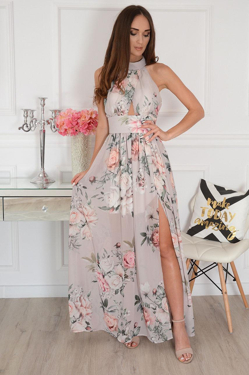 Sukienka maxi szyfonowa w kwiaty beżowa Artemida Rozmiar: XS
