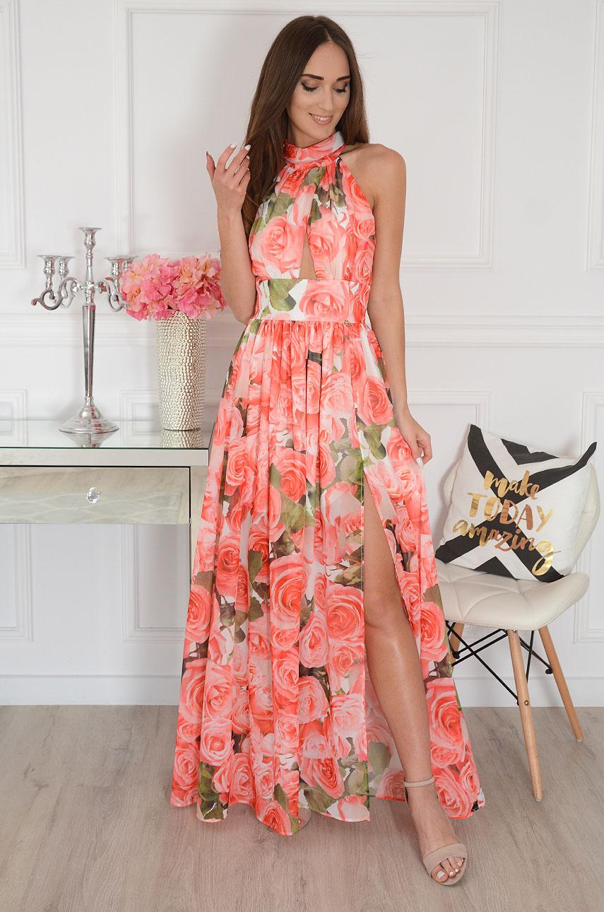 Sukienka maxi szyfonowa w czerwone róże Artemida Rozmiar: XS