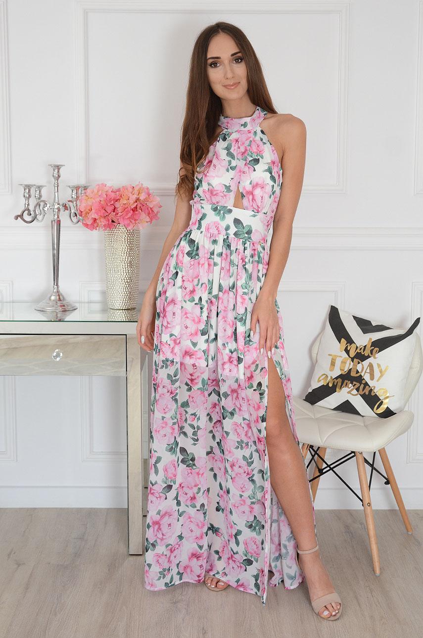 Sukienka maxi szyfonowa w różowe kwiaty Artemida Rozmiar: XS
