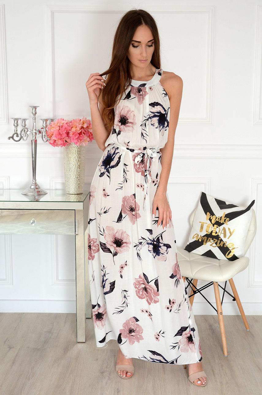 Sukienka maxi na szyję biała w kwiaty Rozalia Rozmiar: UNI