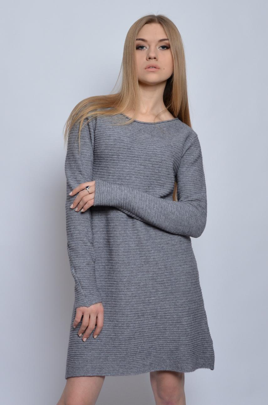097edd6a70 Sukienka swetrowa trapezowa szara - Cocomoda.pl - odzież dams...