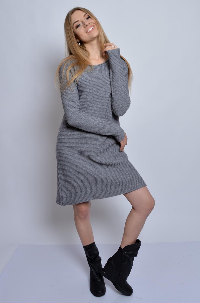 c6933179b3 Sukienka swetrowa trapezowa szara - Cocomoda.pl - odzież dams...