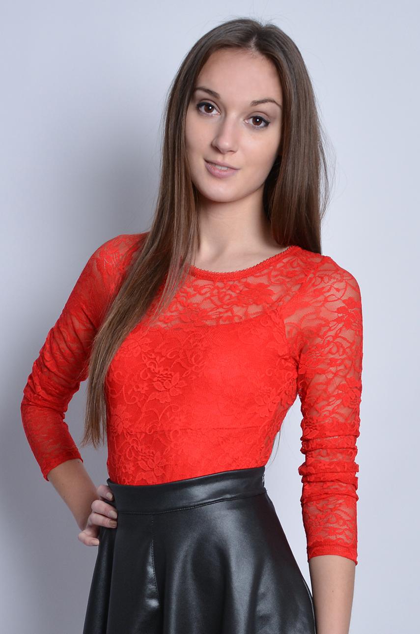 678b783c0961e7 Body koronkowe czerwone z rękawem - Cocomoda.pl - odzież dams...