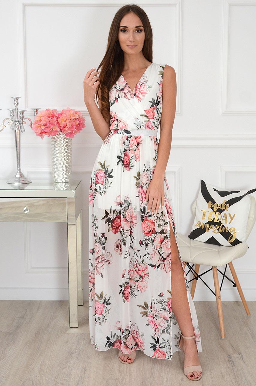 Sukienka maxi szyfonowa w różowe kwiaty biała Lukrecja