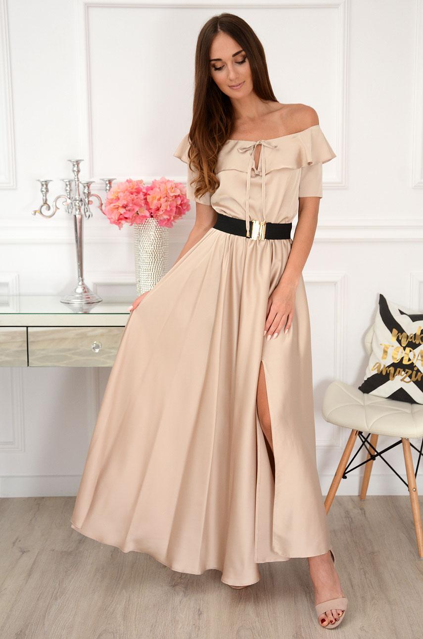 Sukienka maxi hiszpanka z falbaną i paskiem beżowa Megra Rozmiar: S
