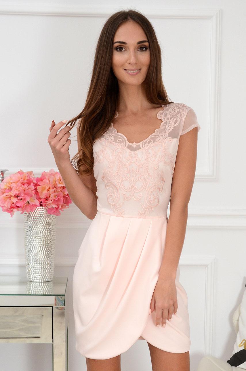 Sukienka z koronkową górą pudrowy róż Mesalina Rozmiar: L