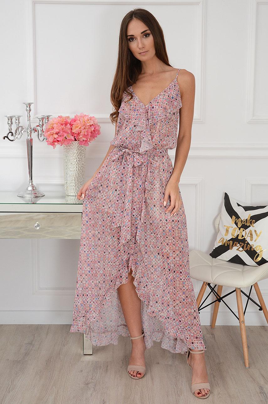 Sukienka maxi szyfonowa w kolorowy wzór brudny róż Lula Rozmiar: UNI