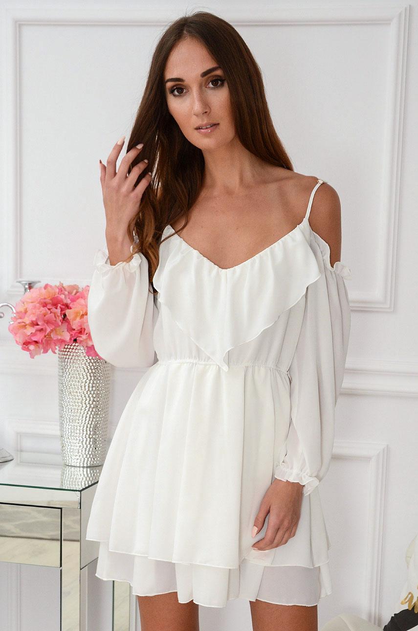 Sukienka hiszpanka z falbaną biała Karmen Rozmiar: XS