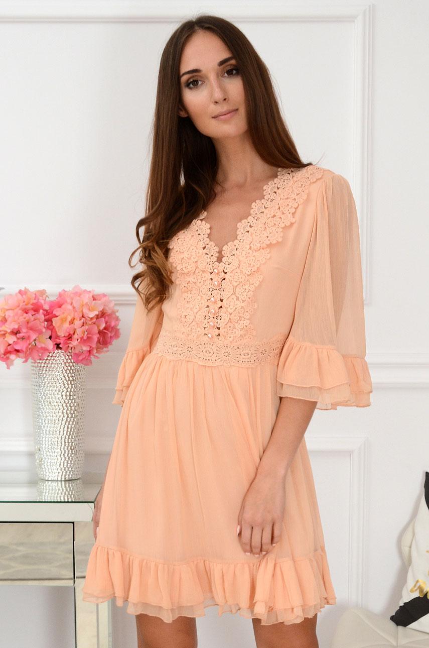 Sukienka z falbanami i koronką brzoskwiniowa Tiuli Rozmiar: M