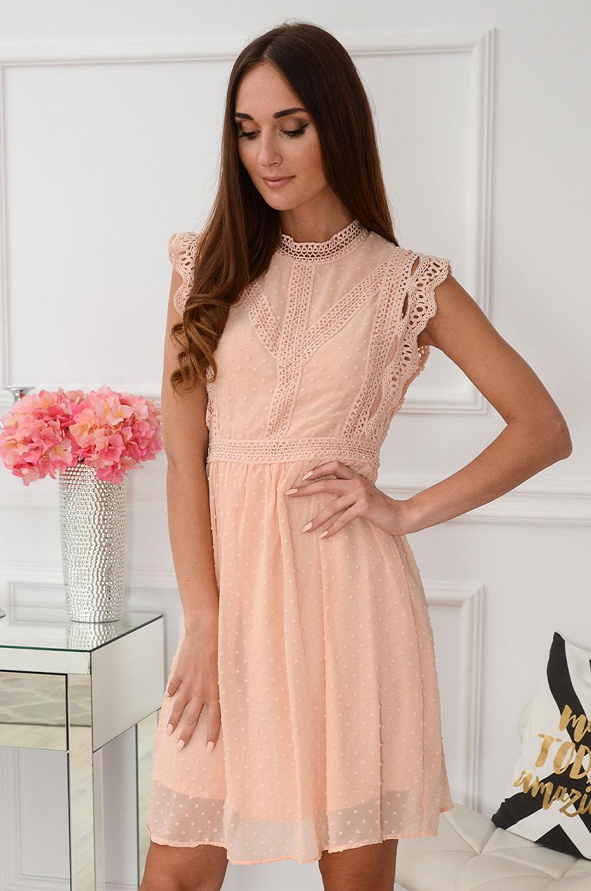 52e321319 Sukienka szyfonowa z koronką brzoskwiniowa Sklep internetowy ...