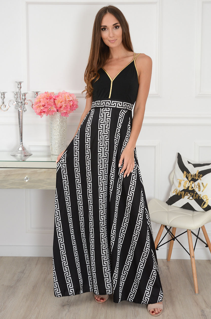 Sukienka maxi w grecki wzór czarna Arcada
