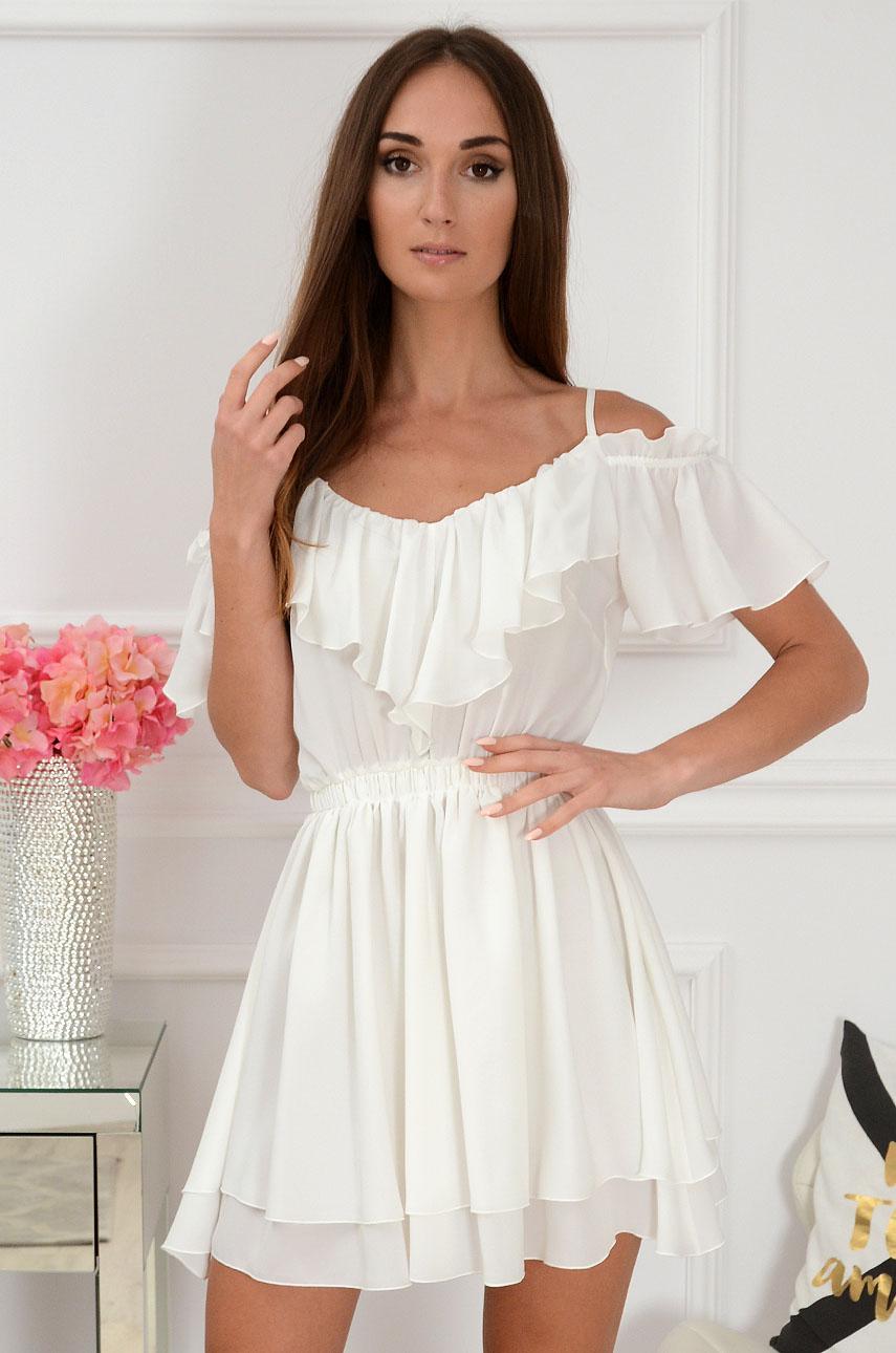 Sukienka na ramiączkach z falbaną biała Leandra