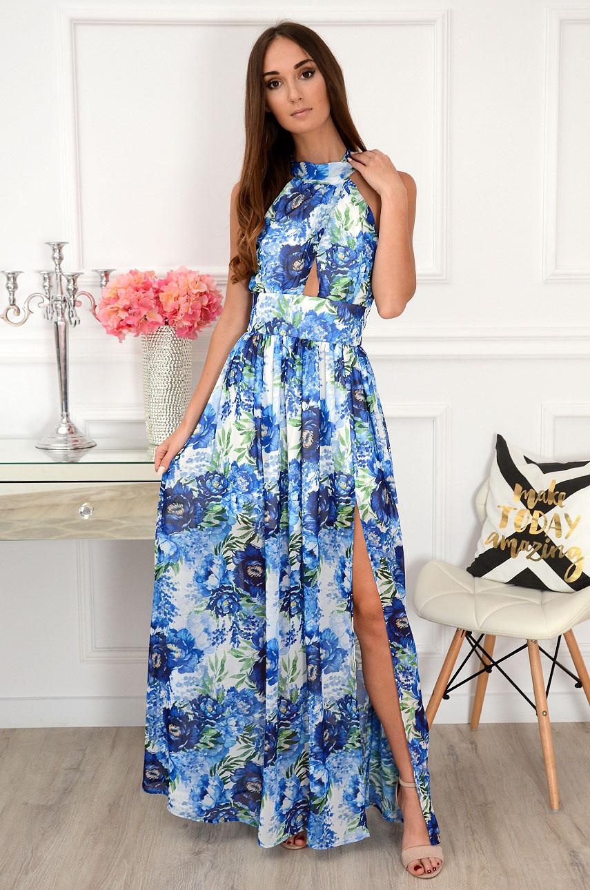 Sukienka maxi szyfonowa w chabry biała Artemida Rozmiar: XS