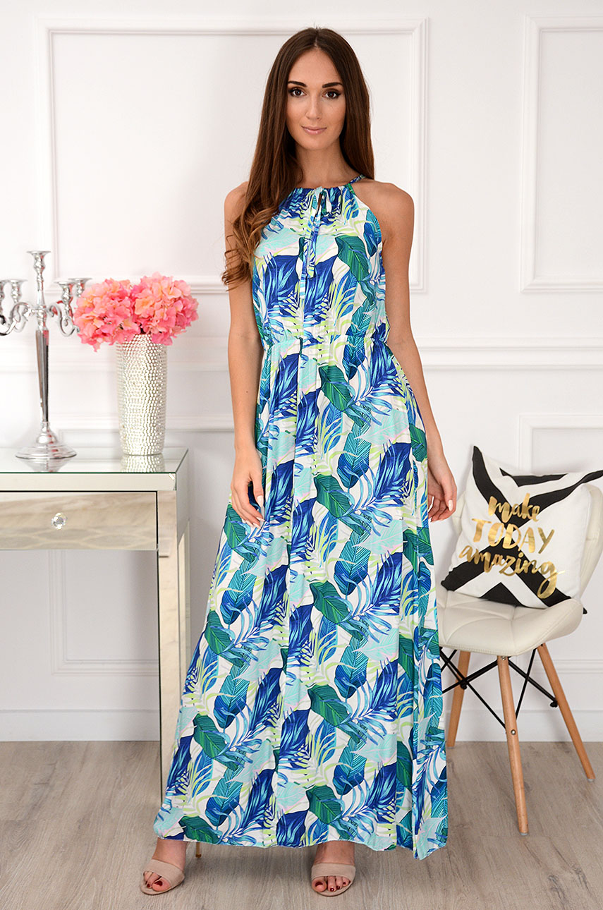 Sukienka maxi w tropikalne liście niebiesko-biała Apollina Rozmiar: UNI