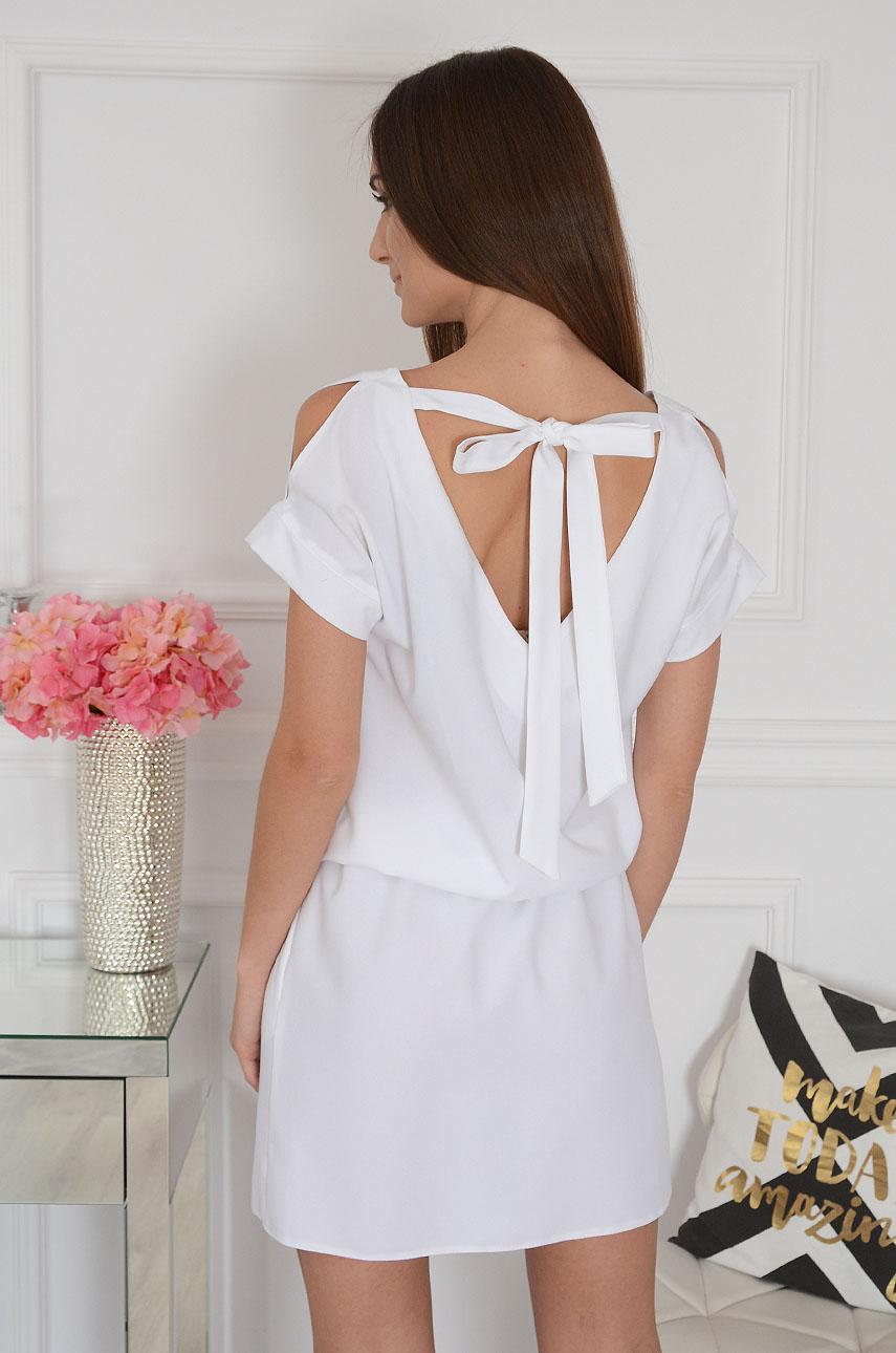 Sukienka wiązany dekolt na plecach biała Leona Rozmiar: M