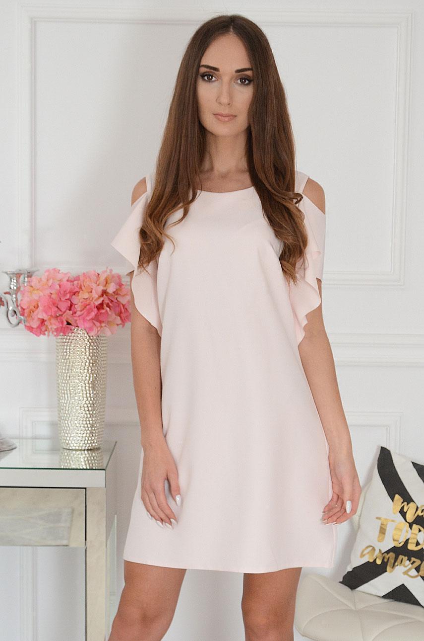 Sukienka gołe ramiona jasny pudrowy róż Adria Rozmiar: L