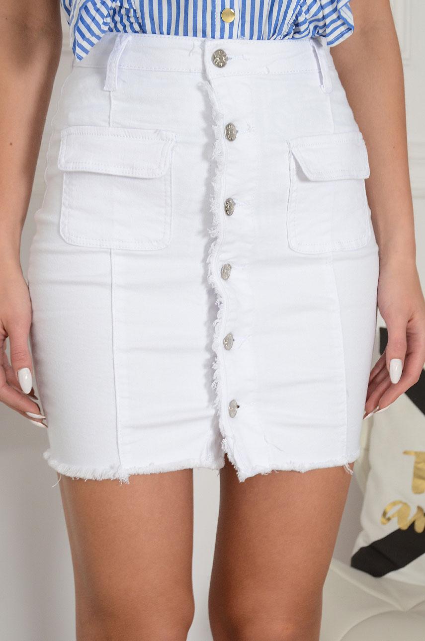 a8e6ca2c Spódnica jeansowa na guziki biała Anizja